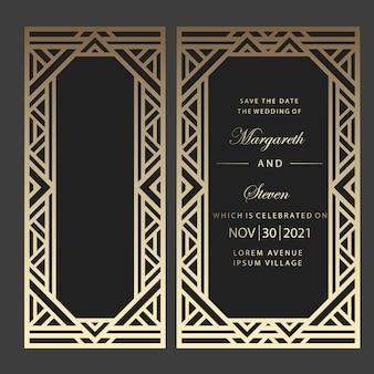 Invitación de boda corte geométrico con láser. diseño art deco.