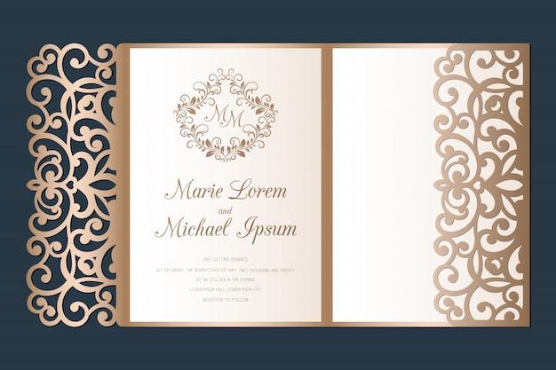 Invitación de boda con corte láser plantilla de sobre de bolsillo triple.