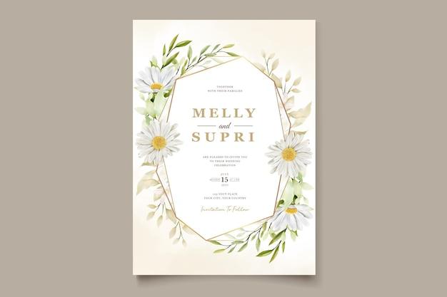 Invitación de boda de crisantemo acuarela