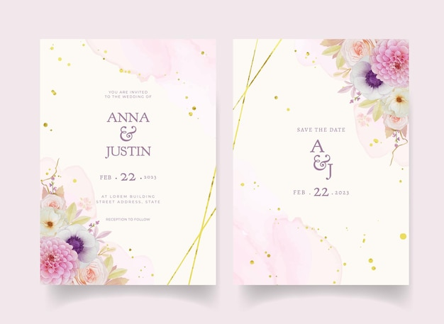 Invitación de boda con dalia rosa acuarela y flor de anémona