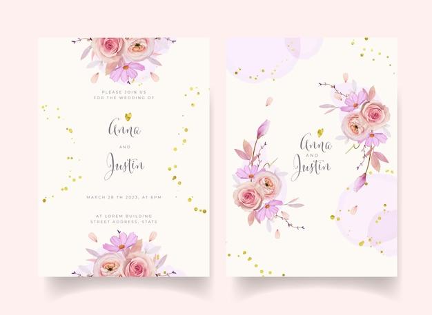 Invitación de boda con dalia rosa acuarela y flor de ranúnculo