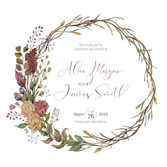 Invitación de boda con decoración acuarela otoño