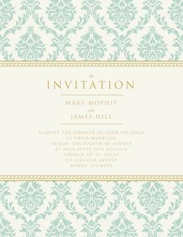 Invitación de boda con decoración clásica