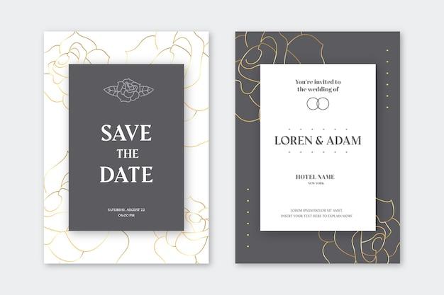 Invitación de boda con detalles dorados