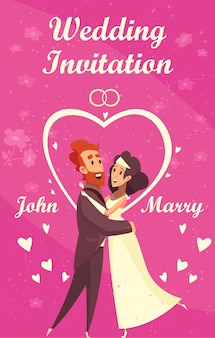 Invitación de boda de dibujos animados