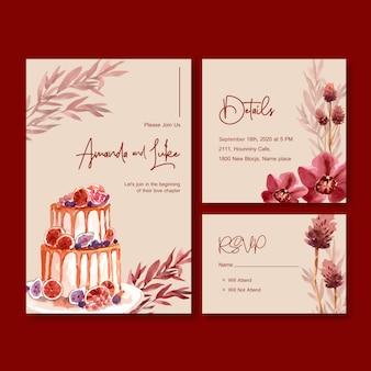Invitación de boda con diseño de concepto de flor de otoño para plantilla e ilustración acuarela de tarjeta de invitación.