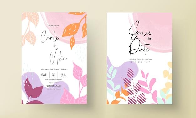 Invitación de boda de diseño floral plano con hojas de primavera vector gratuito
