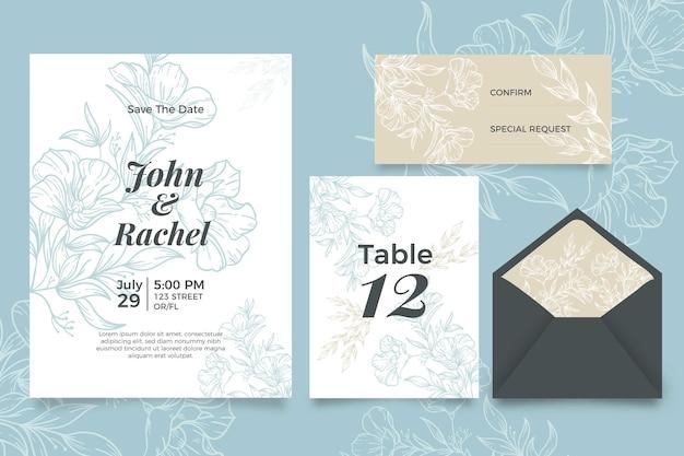 Invitación de boda con diseño floral
