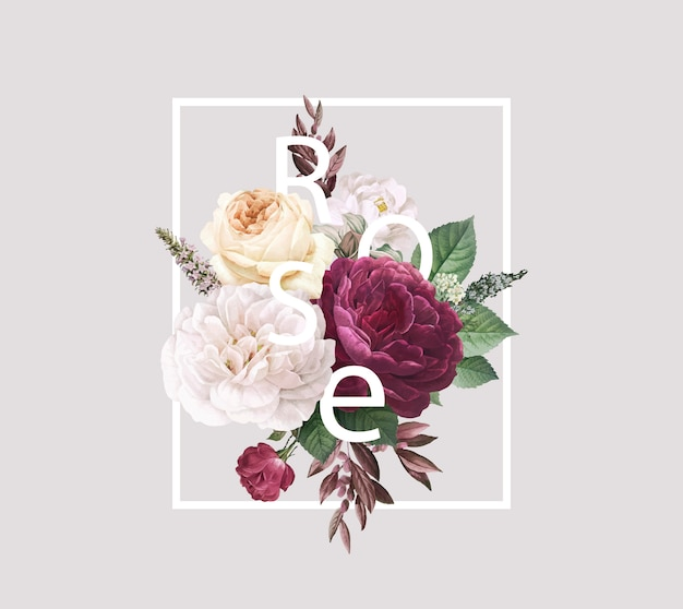 Invitación de boda de diseño floral