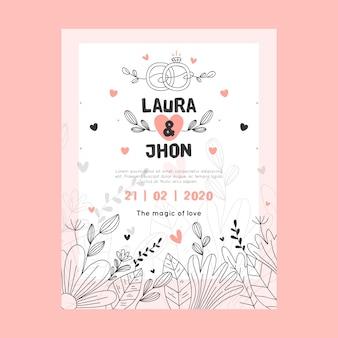 Invitación de boda de diseño global con hojas