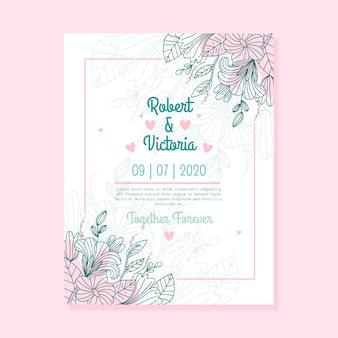 Invitación de boda de diseño de hojas y flores con hojas