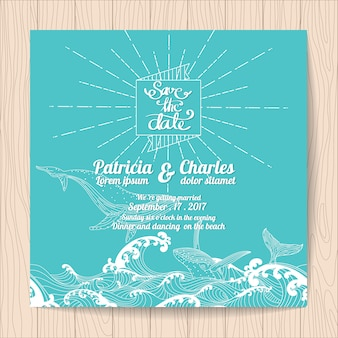 Invitación de boda con diseño marino
