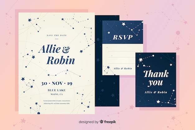 Invitación de boda de diseño plano con constelaciones