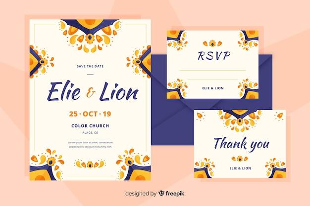 Invitación de boda de diseño plano con elementos orientales