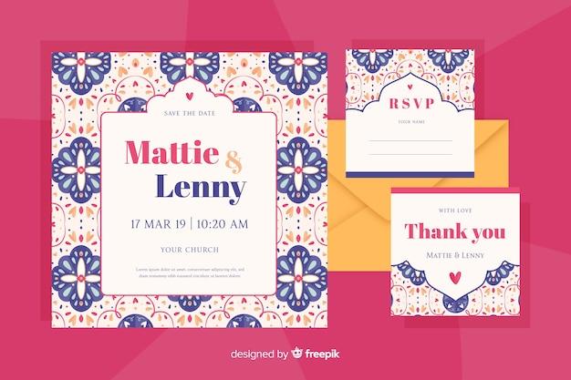 Invitación de boda de diseño plano en estilo batik