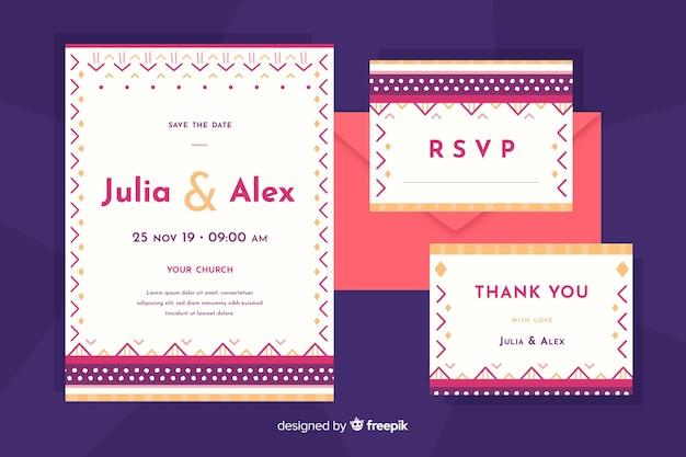 Invitación de boda de diseño plano con formas pequeñas