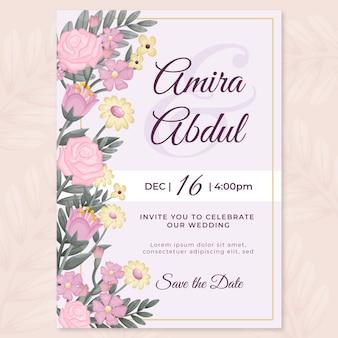 Invitación de boda de diseño plano orgánico