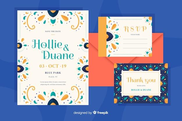 Invitación de boda de diseño plano con plantilla de elementos orientales