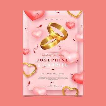 Invitación de boda con diseño plano