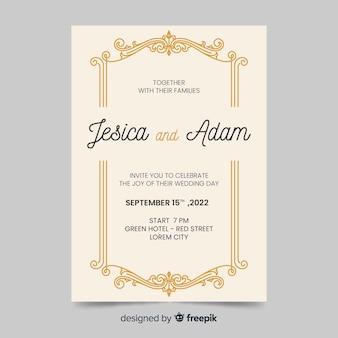 Invitación de boda con diseño retro
