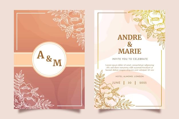 Invitación de boda dorada dibujada a mano