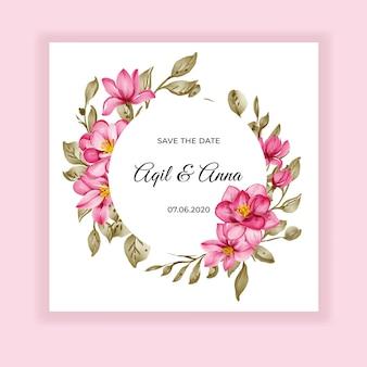 Invitación de boda dulce flor rosa marco acuarela