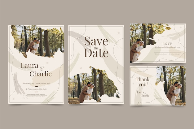 Invitación de boda de elegancia con pareja feliz