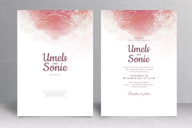 Invitación de boda elegante con acuarela splash