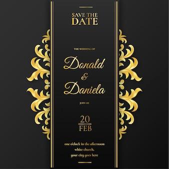 Invitación de boda elegante con adornos de oro