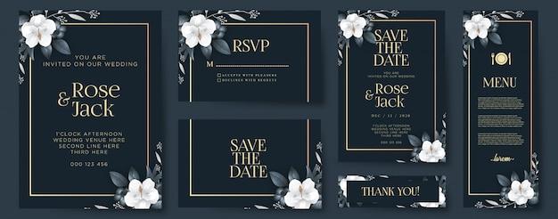 Invitación de boda elegante con adornos