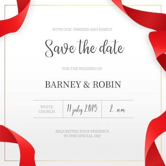 Invitación de boda elegante con cintas rojas.