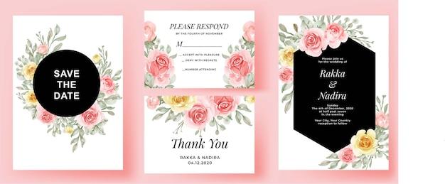Invitación de boda elegante conjunto flor de acuarela melocotón amarillo