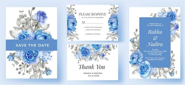 Invitación de boda elegante conjunto flor azul