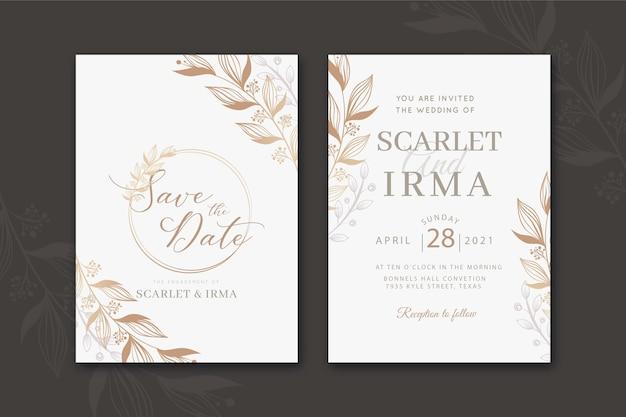 Invitación de boda elegante duotono