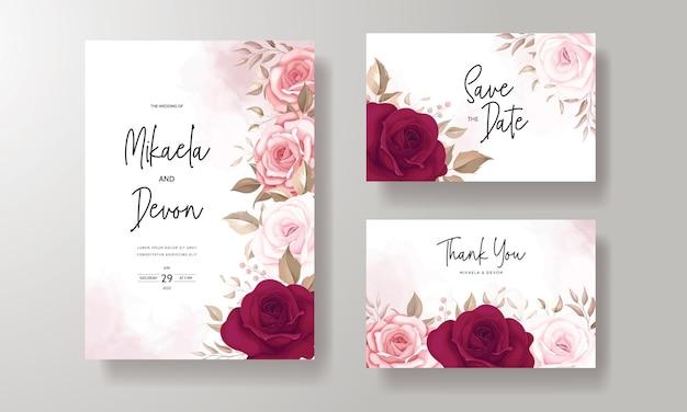 Invitación de boda elegante estampada con hermosas rosas