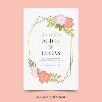 Invitación de boda elegante con flores.