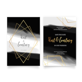 Invitación de boda elegante con formas doradas