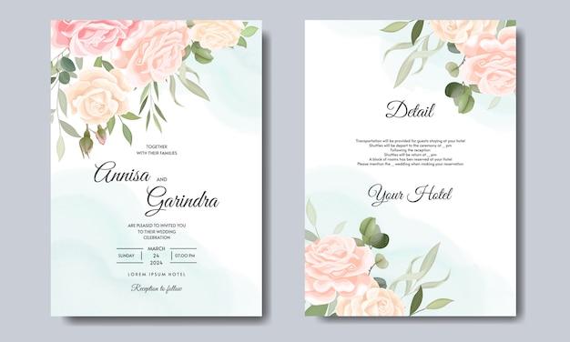 Invitación de boda elegante con hermosa plantilla floral y hojas premium vector