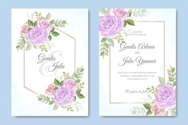 Invitación de boda elegante con hermosas flores