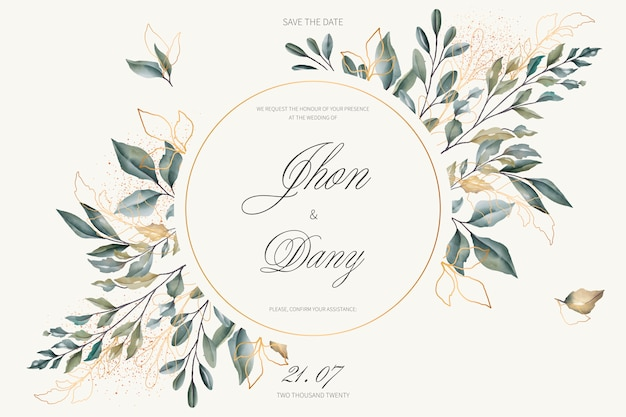 Invitación de boda elegante con hojas doradas y verdes
