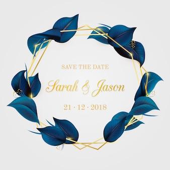 Invitación de boda elegante con hojas.