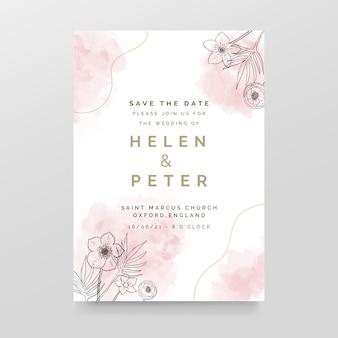 Invitación de boda elegante con manchas de acuarela y flores.