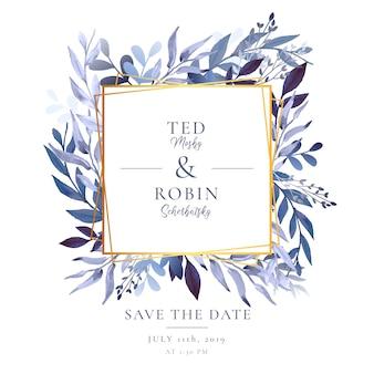 Invitación de boda elegante con marco dorado y hojas de acuarela