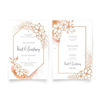Invitación de boda elegante y menú con adornos de oro