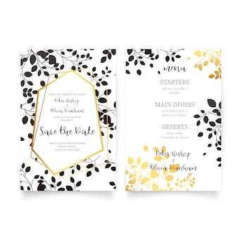 Invitación de boda elegante y menú con hojas doradas y negras