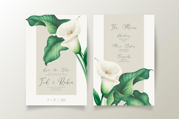 Invitación de boda elegante y menú con lirios blancos