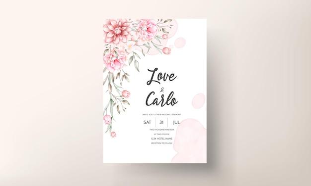 Invitación de boda elegante con motivos florales en acuarela