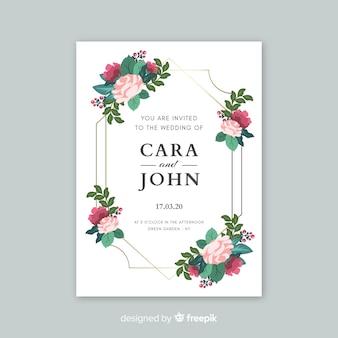 Invitación de boda elegante con plantilla de flores