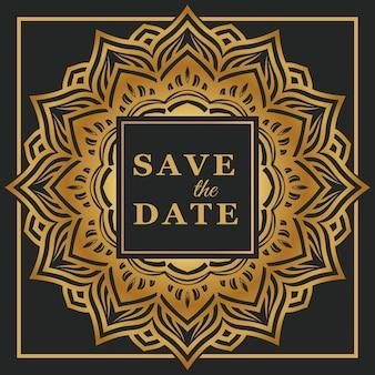Invitación de boda elegante con plantilla de mandala