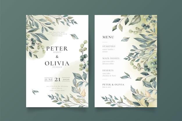 Invitación de boda elegante y plantilla de menú